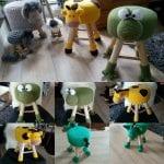 Çocuk Odası Dekorasyonu İçin Örgü Tabure Kılıfları 14