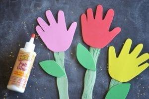 Okul Öncesi Evadan El İzi Çiçek Yapımı 3