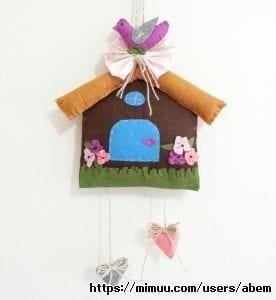 Keçe Kapı Süsü Kuş Evi