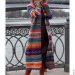 Renkli Örgü Uzun Hırka Modelleri 27