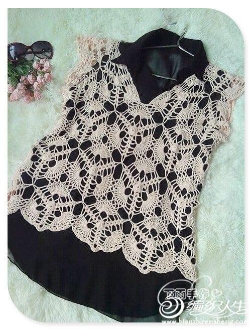 Japon Stil Örgü Dantel Bluz Yapılışı 6