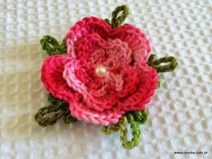 Örgü Çiçek Yapımı Resimli Anlatım 55
