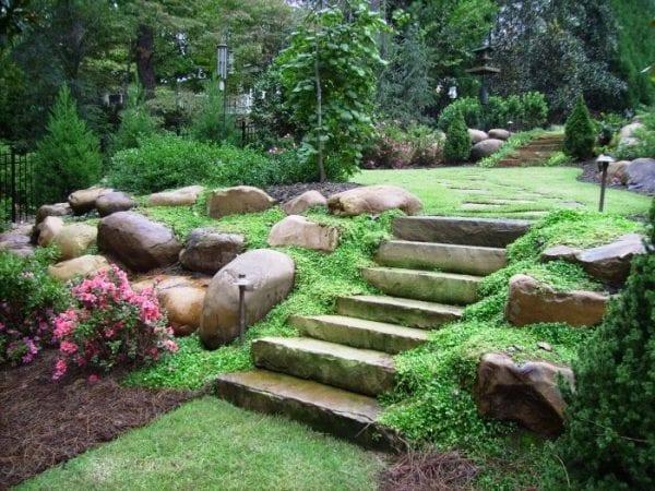 Taşlarla Yapılmış Bahçe Fikirleri 23