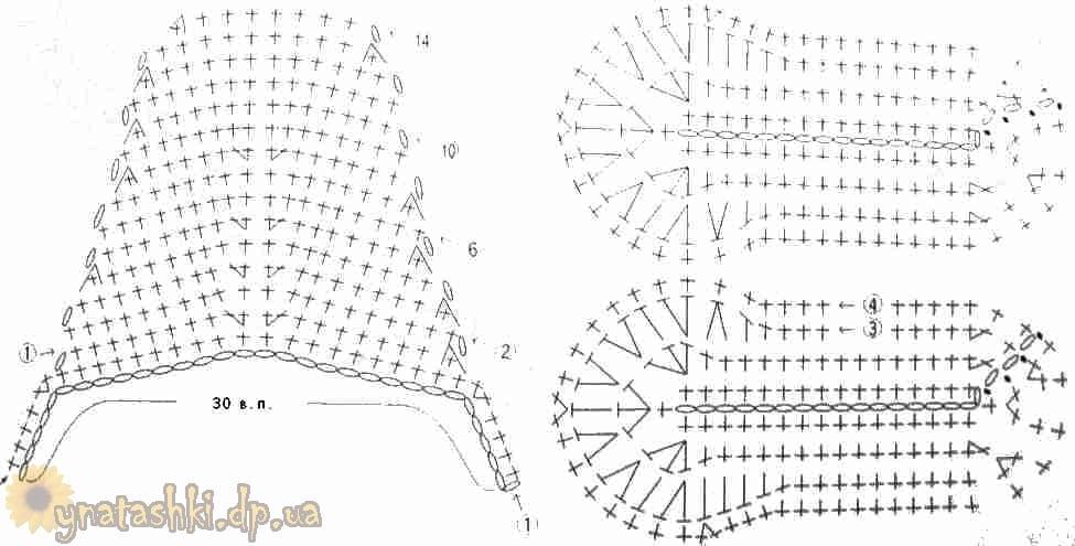 Домашние тапочки связанные крючком схемы