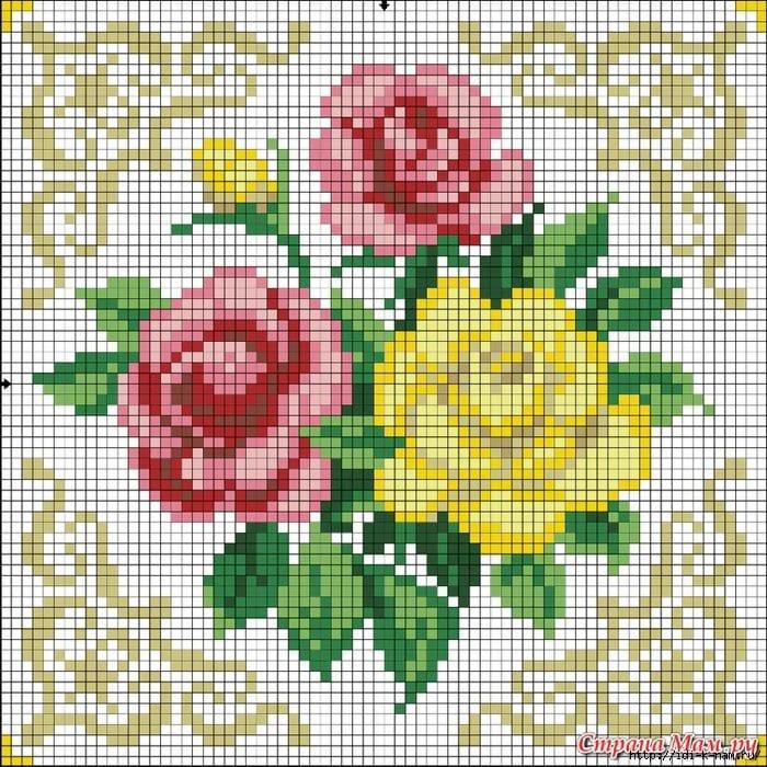 Схем а вышивки роза
