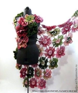 Örgü Çiçek Modeli Şal Yapılışı