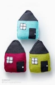 Örgü Ev Modeli Yastık Yapımı 11