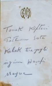 Atatürk'ün Kendi Elleriyle Yazdığı Menü 2