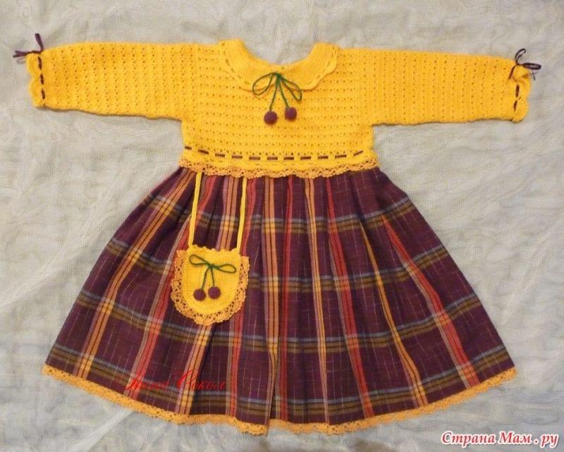 Üstü Örgü Altı Kumaş Bebek Elbisesi 13