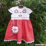 Üstü Örgü Altı Kumaş Bebek Elbisesi