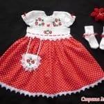 Üstü Örgü Altı Kumaş Bebek Elbisesi 1