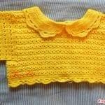 Üstü Örgü Altı Kumaş Bebek Elbisesi 22