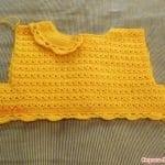 Üstü Örgü Altı Kumaş Bebek Elbisesi 23