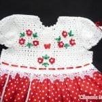 Üstü Örgü Altı Kumaş Bebek Elbisesi 2