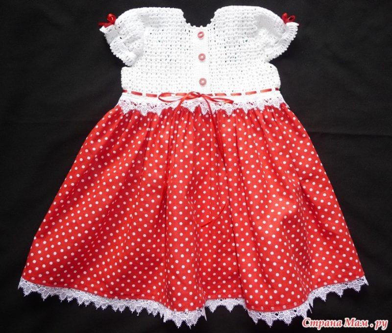 Üstü Örgü Altı Kumaş Bebek Elbisesi 3