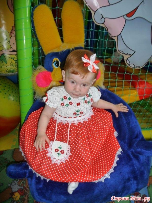Üstü Örgü Altı Kumaş Bebek Elbisesi 5