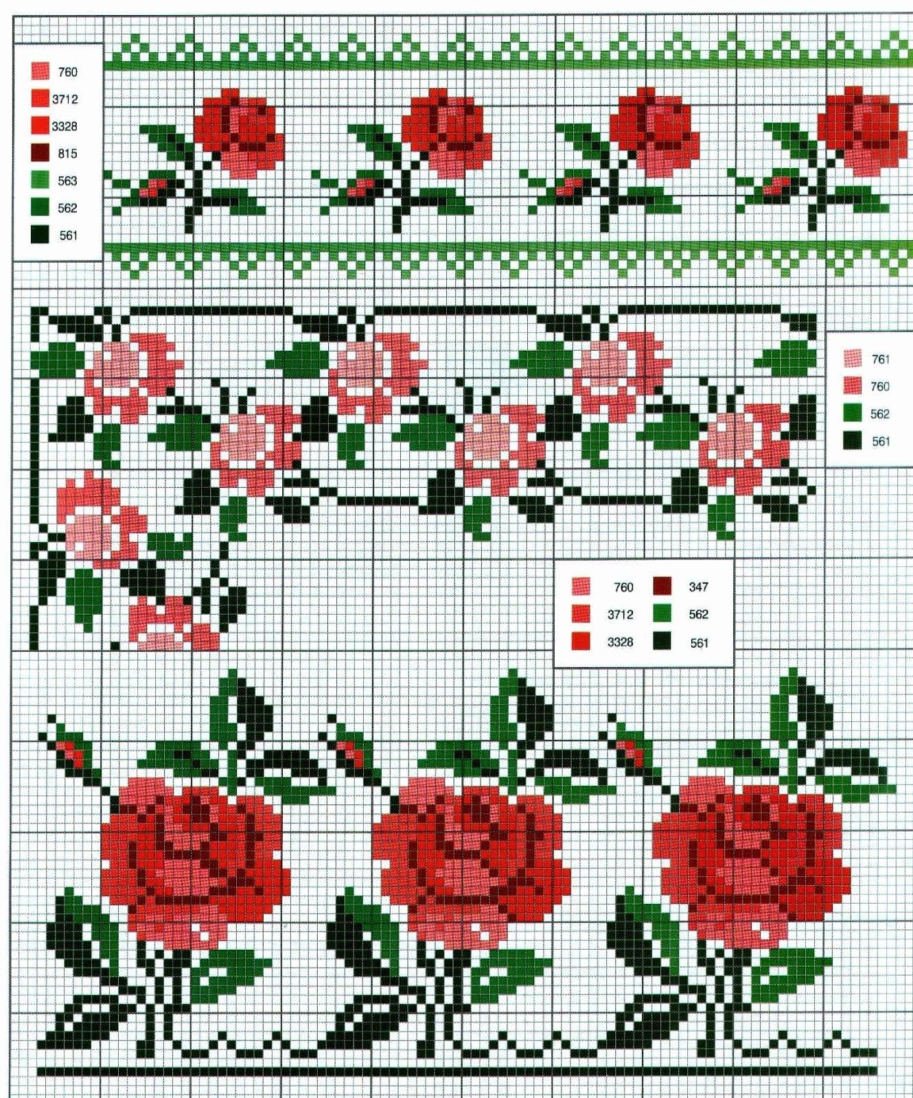 Цветочный орнамент для вышивки крестом