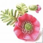 Tunus İşi Tekniği Örgü Çiçek Yapımı 12