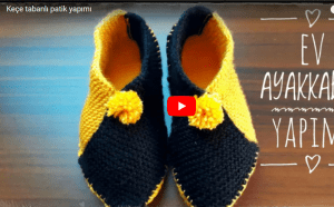 Keçe Tabanlı Ev Ayakkabısı