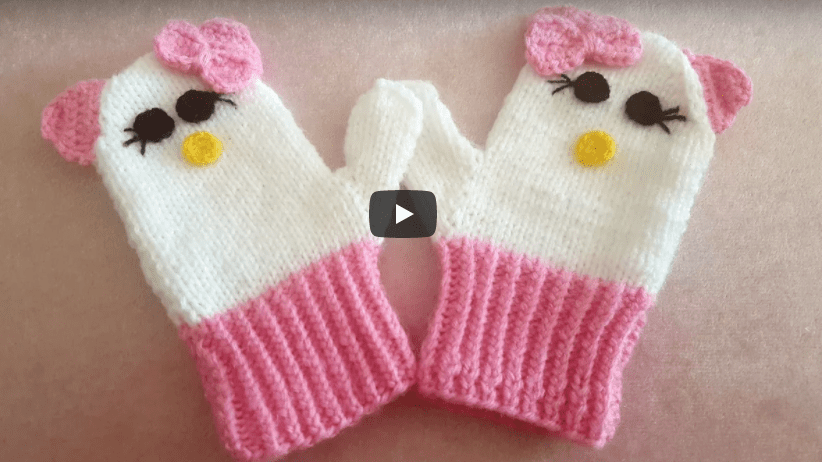 Hello Kitty örgü Eldiven Yapımı Mimuucom