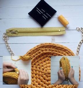 Penye İpten Makaron Çanta Yapımı 7