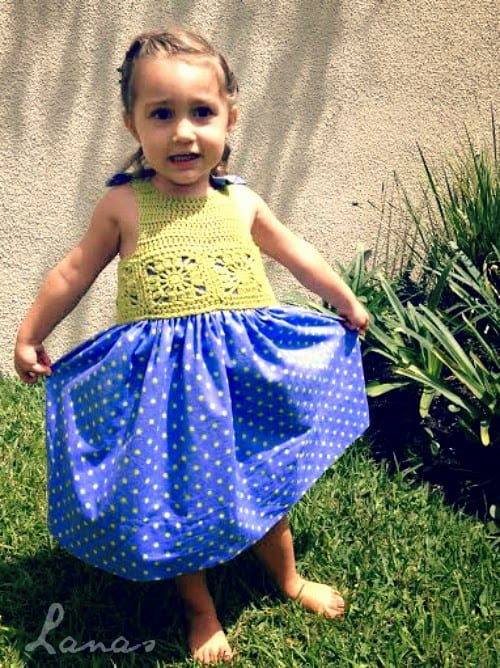 Kumaşla Motifli Örgü Çocuk Elbise Yapımı 1
