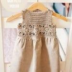 Kumaşla Motifli Örgü Çocuk Elbise Yapımı 21