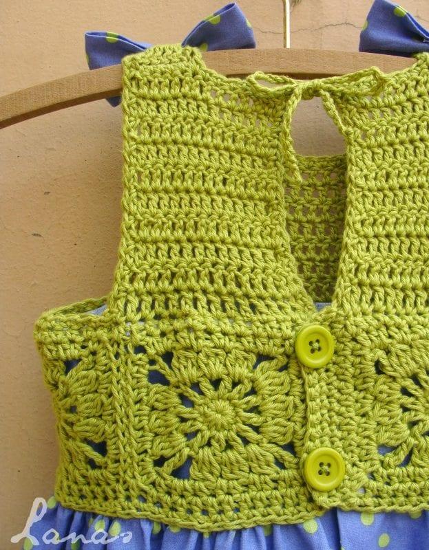 Kumaşla Motifli Örgü Çocuk Elbise Yapımı 2