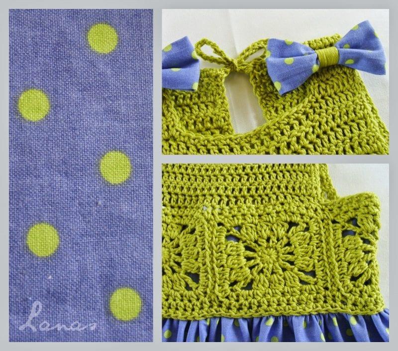 Kumaşla Motifli Örgü Çocuk Elbise Yapımı 3
