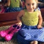 Kumaşla Motifli Örgü Çocuk Elbise Yapımı 5