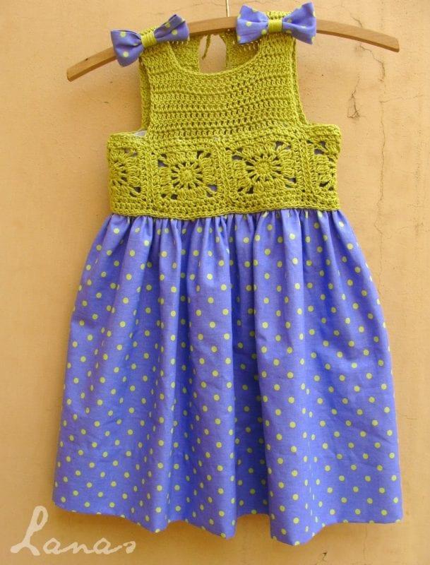 Kumaşla Motifli Örgü Çocuk Elbise Yapımı