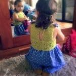 Kumaşla Motifli Örgü Çocuk Elbise Yapımı 6