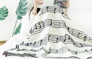 Müzik Notalı Battaniye Yapılışı 10