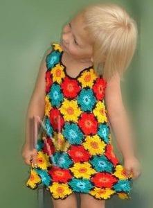 Çiçekli Kız Çocuk Elbisesi
