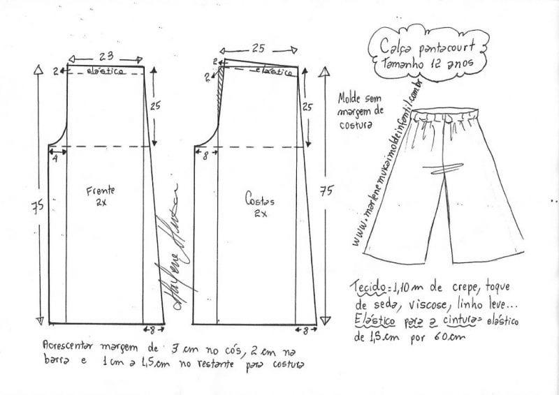 1 - 14 Yaş Bol Pantolon Kalıpları 7