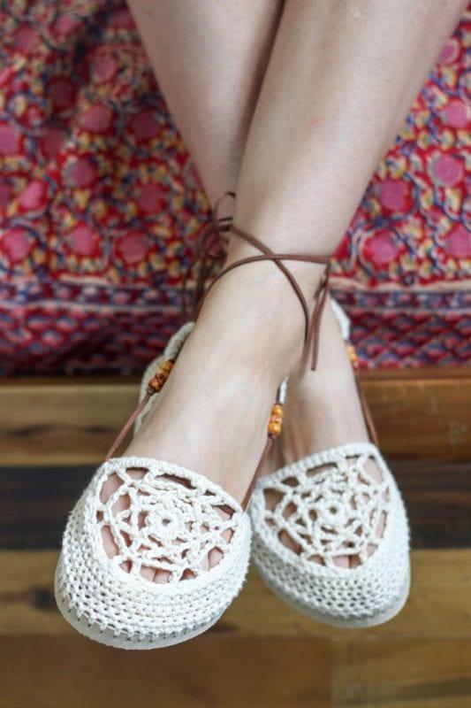 Motifli Yazlık Örgü Ayakkabı Yapılışı 12