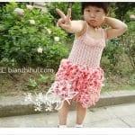 Örgü Kumaş Karışımı Tığ İşi Bebek Elbiseleri 1