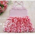 Örgü Kumaş Karışımı Tığ İşi Bebek Elbiseleri 3