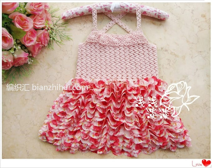 Örgü Kumaş Karışımı Tığ İşi Bebek Elbiseleri 5