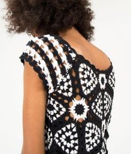 Siyah Beyaz Örgü Elbise - Pantolon Modeli 10