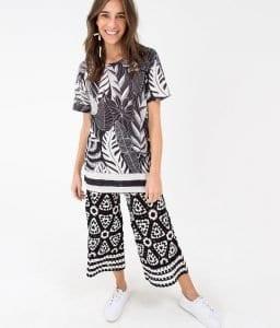 Siyah Beyaz Örgü Elbise - Pantolon Modeli 4