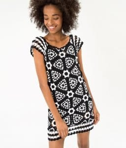 Siyah Beyaz Örgü Elbise - Pantolon Modeli 6