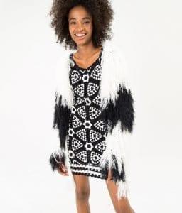 Siyah Beyaz Örgü Elbise - Pantolon Modeli 8