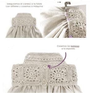 Üstü Örgü Altı Kumaş Elbise Modelleri 4