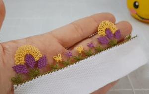 İğne Oyası Üç Yapraklı Çiçek Yapımı