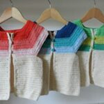 İki Renkli Örgü Bebek Yelek Modelleri 25