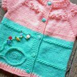 İki Renkli Örgü Bebek Yelek Modelleri 4