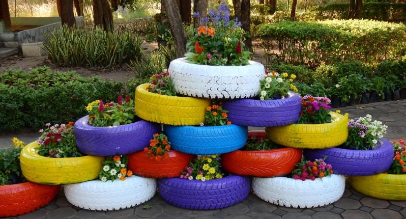 Araba Lastiği ile Bahçe Dekorasyonu 9