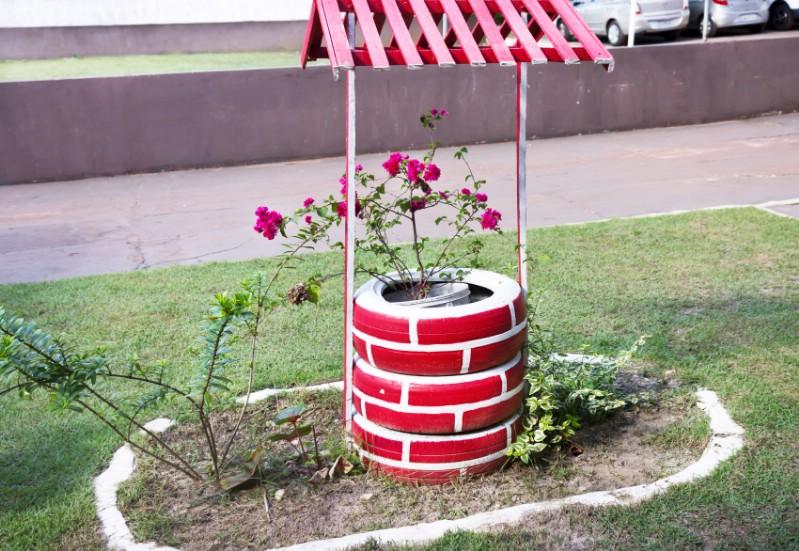 Araba Lastiği ile Bahçe Dekorasyonu 26