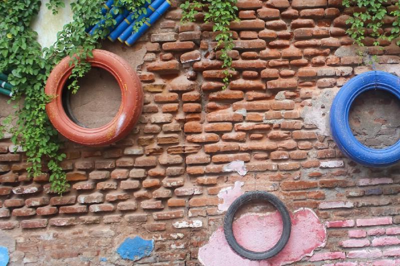 Araba Lastiği ile Bahçe Dekorasyonu 33